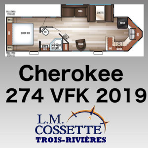 Cherokee 274 VFK 2019 - LM Cossette inc. vr roulotte fifth wheel caravane rv travel trailer - grey wolf pup arctic wolf kodiak apex nano