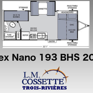 Apex Nano 193 BHS 2020 - LM Cossette inc. vr roulotte fifth wheel caravane rv travel trailer - cherokee grey wolf pup kodiak aspen trail arctic wolf alpha wolf cub apex nano roulotte a vendre trois-rivières