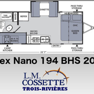 Apex Nano 194 BHS 2020 --LM Cossette inc. vr roulotte fifth wheel caravane rv travel trailer - cherokee grey wolf pup kodiak aspen trail arctic wolf alpha wolf cub apex nano roulotte a vendre trois-rivières