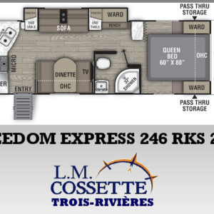 Freedom Express 246 RKS 2021 --LM Cossette inc. vr roulotte fifth wheel caravane rv travel trailer - cherokee grey wolf pup kodiak aspen trail arctic wolf alpha wolf cub apex nano roulotte a vendre trois-rivières