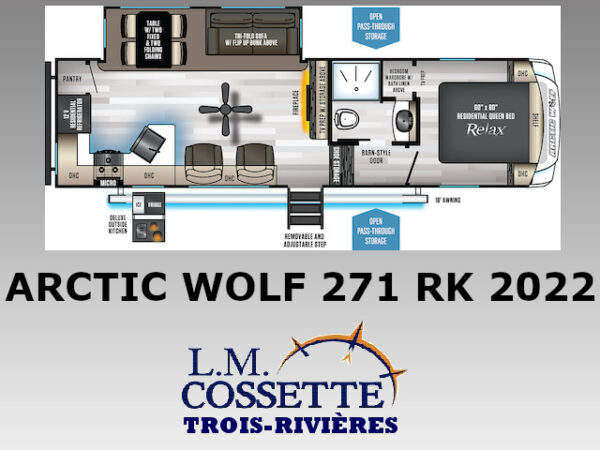 Arctic Wolf 271 RK 2022-LM Cossette inc. vr-roulotte-fifth wheel-cargo-arctic wolf -cherokee-grey wolf-wolf pup-kodiak cub-aspen trail-dutchmen-forest river-freedom express select-coachmen-apex nano -Trois-Rivières